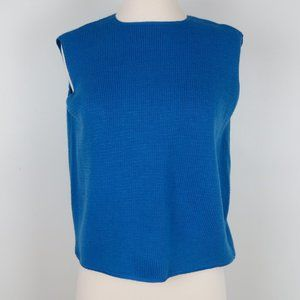 Vintage 60s Blue Knit Sleeveless Sweater Shell